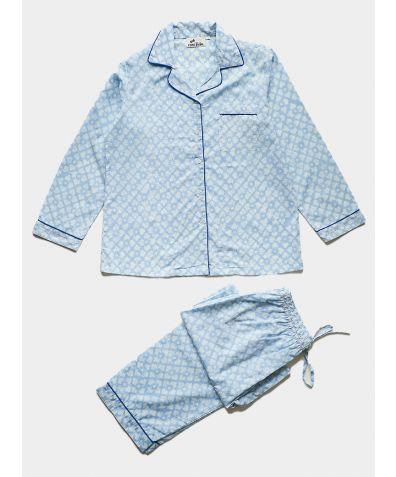 Women's Organic Cotton Pyjama Trouser Set - Powder Blue Floral