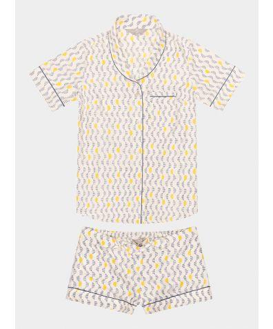 Mulberry Silk Pyjama Short Set - Kochi Blue