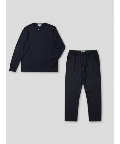 Mens Jersey Long Sleeve Pyjama Trouser Set - Navy