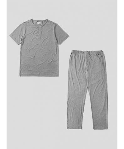 Mens Jersey Short Sleeve Pyjama Trouser Set - Light Grey