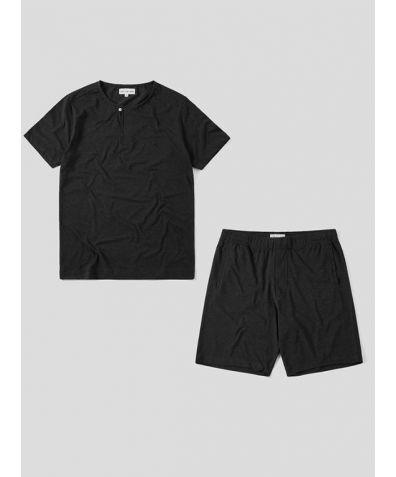 Mens Jersey Short Sleeve Pyjama Short Set - Charcoal