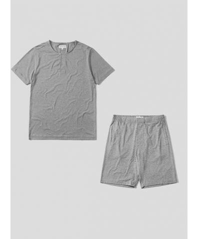 Mens Jersey Short Sleeve Pyjama Short Set - Light Grey