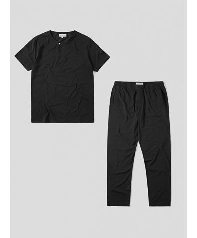 Mens Jersey Short Sleeve Pyjama Trouser Set - Navy