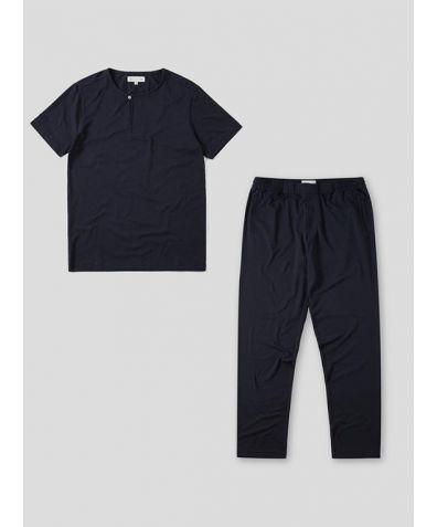 Mens Jersey Short Sleeve Pyjama Trouser Set - Charcoal