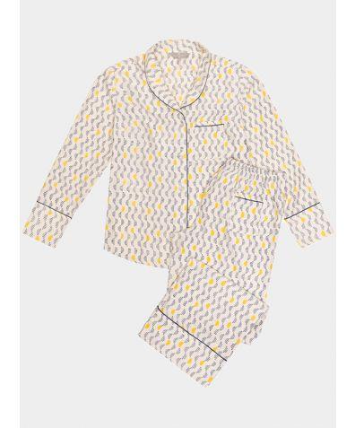Mulberry Silk Pyjama Trouser Set - Kochi Blue
