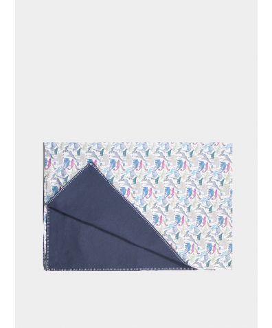 Liberty Print Baby Blanket - Queue for the Zoo Blue