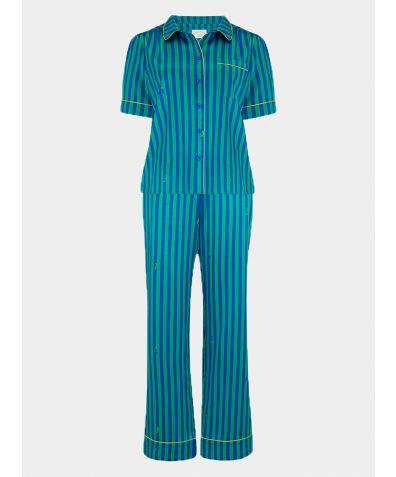 Women's Poppy Rainforest Caterpillar Stripe Silk Pyjama Trouser - Set/Separate
