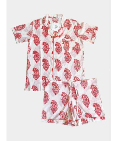 Women's Cotton Pyjama Short Set - Red Paisley