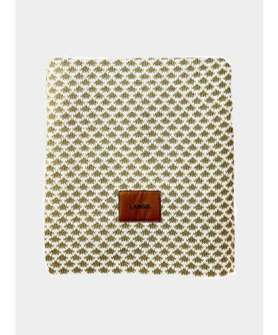 Wool Blanket - Olive Green-White