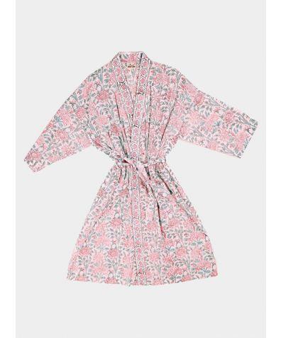 Block Printed Cotton Robe - Jasmine