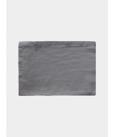 French Linen Flat Sheet - Lens Charcoal
