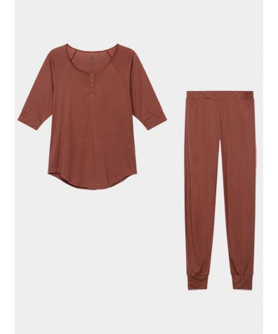 Women's Everyday Organic Pima Cotton Pyjama Trousers Set - Rust