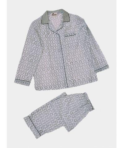 Women's Organic Cotton Pyjama Trouser Set - Sage Green Diamond