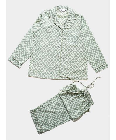 Women's Organic Cotton Pyjama Trouser Set - Sage Green Floral
