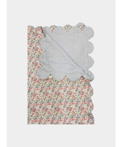Liberty Scallop Bedspread -  Poppy & Daisy Rose & Pale Grey Linen