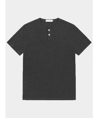 Short Sleeve Jersey Henley - Charcoal Melange