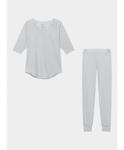 Women's Everyday Organic Pima Cotton Pyjama Trousers Set - Grey