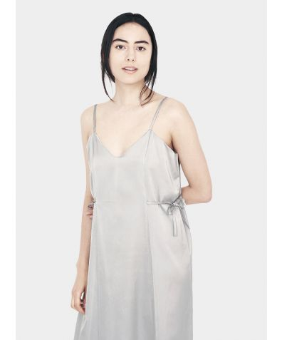 Relaxed Cotton Silk Slip Dress - Grey