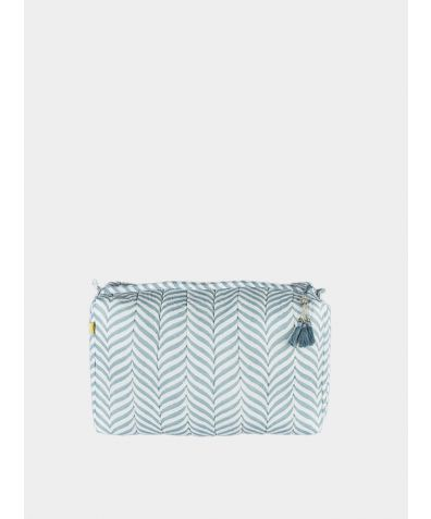 Indore Soft Herringbone Make Up Bag - Soft Teal