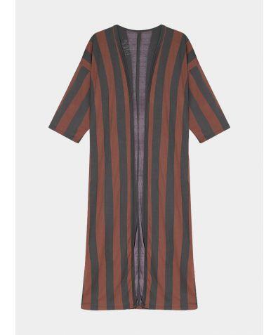 Women's Organic Pima Cotton Long Open Kimono - Stripe