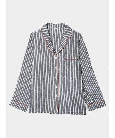 Linen Nightshirt - Midnight Stripe