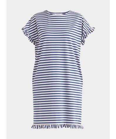 Striped Pyjama Dress - Blue and White