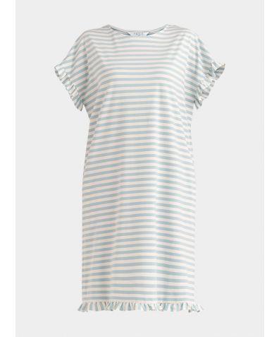 Striped Pyjama Dress - Light Blue and White