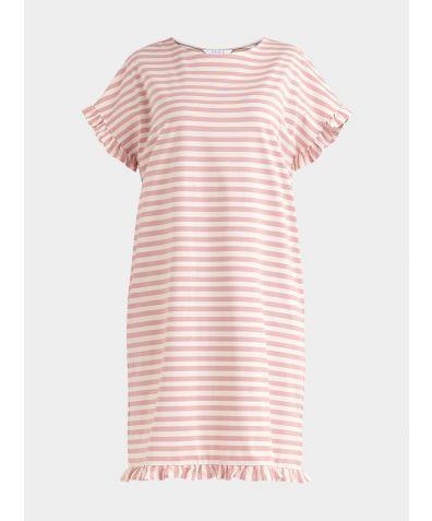 Striped Pyjama Dress - Light Pink and White