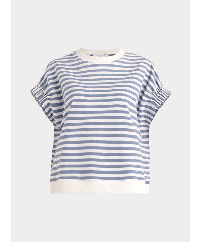 Cotton Short Sleeve Sweatshirt - Light Blue and White