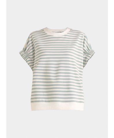Cotton Short Sleeve Sweatshirt - Light Green and White