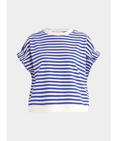 Cotton Short Sleeve Sweatshirt - Navy and White
