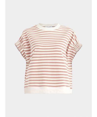 Cotton Short Sleeve Sweatshirt - Light Pink and White