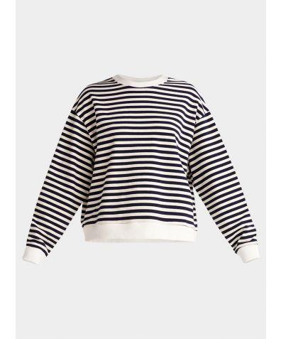 Cotton Sweatshirt - Navy and White Stripe