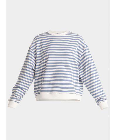 Cotton Sweatshirt - Light Blue and White Stripe