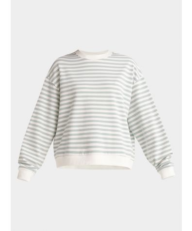 Cotton Sweatshirt - Light Green and White Stripe