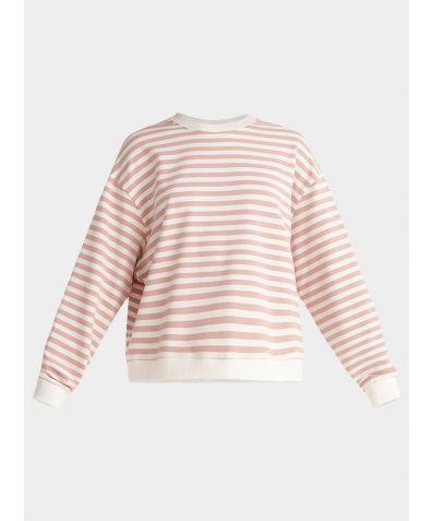 Cotton Sweatshirt - Pink and White Stripe