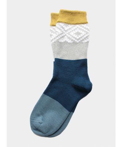 Tile Wool Socks - Citrus / Teal / Steel Blue