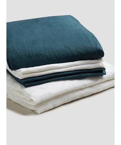 Natural French Flax Linen Bedtime Bundle - Deep Teal