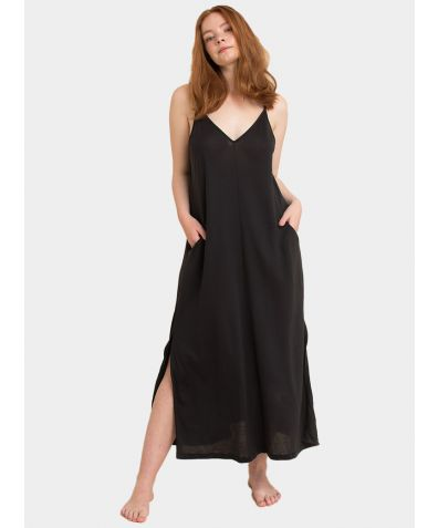 The Boho Slip Dress - Almost Black