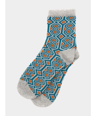Fes Socks - Tweed Blue / Clementine / Grey