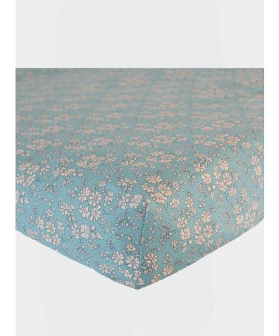 Liberty Print Fitted Sheet - Capel Turquoise