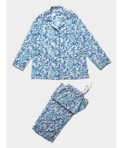 Women's Organic Cotton Pyjama Trouser Set - Turquoise and Royal Blue Floral