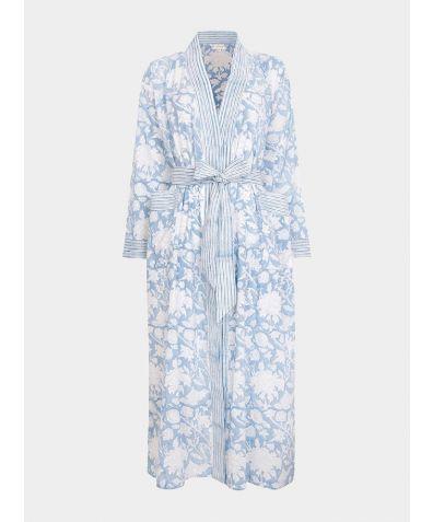 Hand Printed Kimono Cotton Robe - Sky Blue