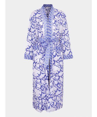 Hand Printed Kimono Cotton Robe - China Blue