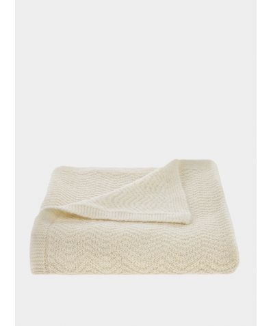 Wave Knitted Woollen Baby Blanket - Cream