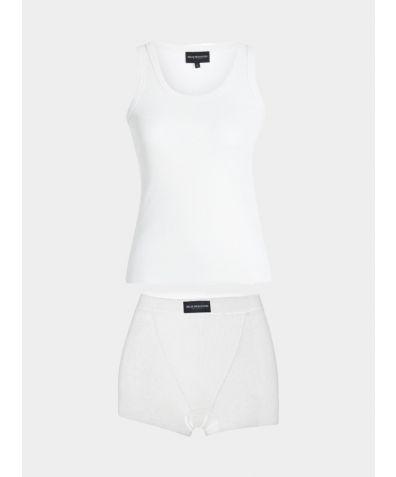 Pyjama Cotton Boxer Set - White