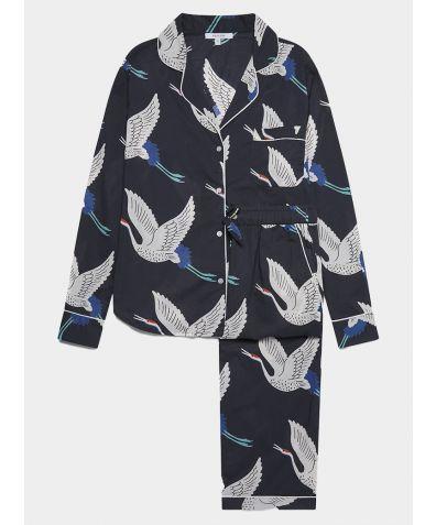 Women's Cotton Pyjama Trouser Set - White Bird