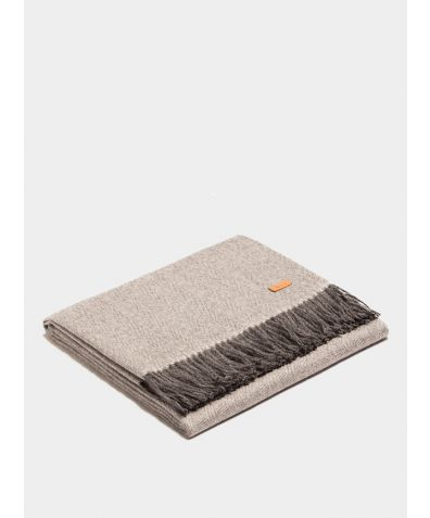 Plaid Exclusive Fishbone Blanket - White-Gray