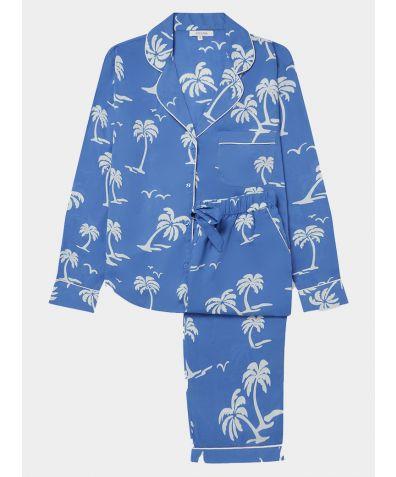 Women's Cotton Pyjama Trouser Set - White Palm Trees