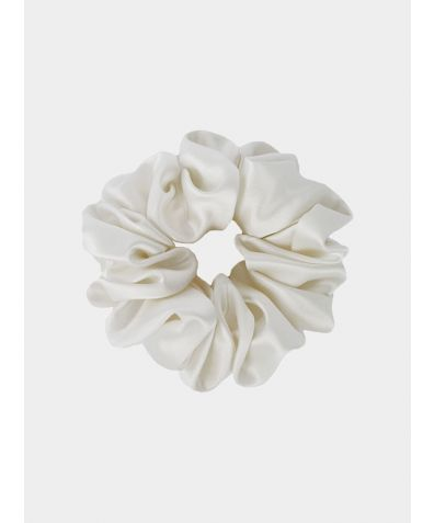 Silk Scrunchie - Powder White